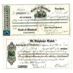 Canadian Draft & Exchange Pair, ca.1871-78.