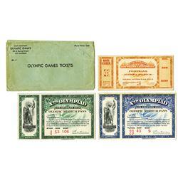 Los Angeles, 1932 Xth Olympiad - Olym[pic Stadium Ticket Pair with Envelope Plus Football Ticket.