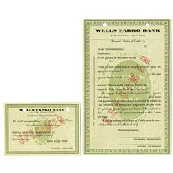 Wells Fargo Bank Specimen Traveler's Letter of Credit and ID card, ca. 1954.
