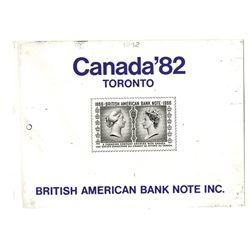 British American Bank Note, Inc., 1982 Proof Advertising Sheet with stamp in middle.