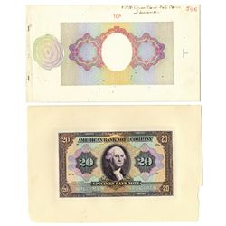 American Bank Note Company, ca.1910-30, George Washington Ad Note Proof with Progress Undertint Shee
