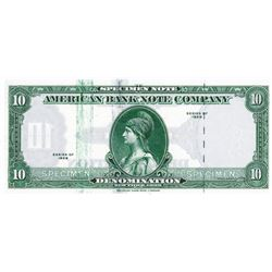 "American Bank Note, 1929 (ca.1970-80's) Specimen Ad Note with ""Tiger Head"" Watermark at right."