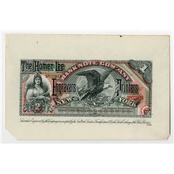 Homer Lee Bank Note Co. Engravers and Printers, ca.1880-90's Advertising Banknote.
