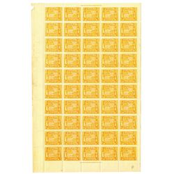 Republic of Hawaii, 1894, Sheet of 50, Mint, U.H, OG with 2 Inscription Blocks.