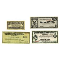 Various Issuers, 1933, Quartet of Depression Era Scrip Notes including Wisconsin Depression Scrip.