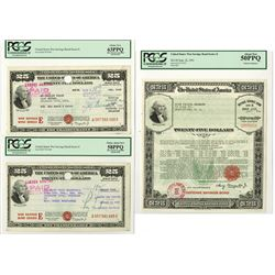 U.S. War Savings Bond, ca.1941-1945 Issue Bond Trio.