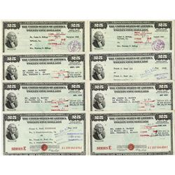 Series E., U.S. Savings Bonds, ca. 1953-1955 Assortment, all from Louisiana.