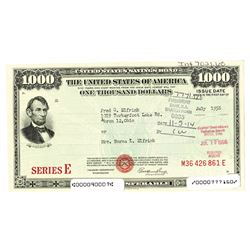 Series E., U.S. Savings Bond, 1956, Issued Bond.