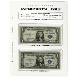 "U.S. ""R"" and ""S"" 1935 A, Experimental Banknote Pair."
