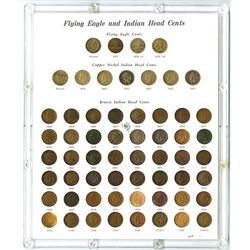 Flying Eagle and Indian Head Penny Nearly Complete Collection, Mostly Circulated.