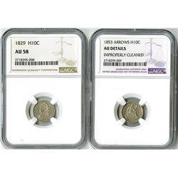 United States: Philadelphia Mint, Pair of Half Dimes,