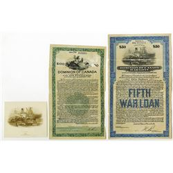 "Dominion of Canada, ""Canada's Victory Loan 1918"",  Fifth War Loan Bond Pair With Matching Proof Vign"