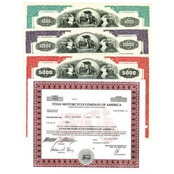Titan Motorcycle Co. of America Stock Certificate and Mack Financial Corp. Issued Bonds, ca. 1971-19