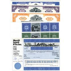 Merrill Lynch & Co., Inc. & American Express Co., ca.1960-1980 Issued Stock Certificates, 6 Pieces