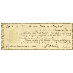 Farmers Bank of Maryland, 1807 Stock Certificate.
