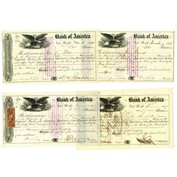 Bank of America, ca.1859-1890 Issued and Cancelled Stock Certificates, 4 Pieces