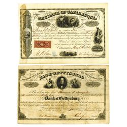 Bank of Catasauqua & Bank of Gettysburg, 1866/1867 Issued Pair of Stock Certificates