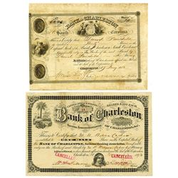 Bank of Charleston, 1852 & 1893 Issued Pair of Stock Certificates