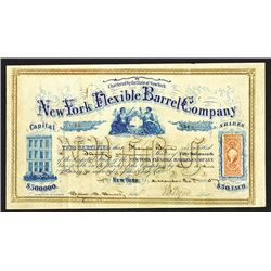 New York Flexible Barrel Co. 1865 Stock Certificate.