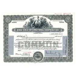 Coca-Cola International Corp., ca.1960-70's Specimen Stock Certificate.