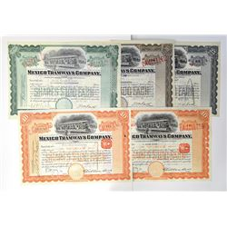 Mexico Tramways Co. ca.1935-1955 Group of Cancelled Stock Certificates