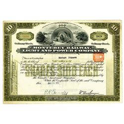 Monterey Railway Light and Power Co., 1911 Issued Stock Certificate