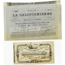 French Gold Mining Stock Certificate Pair for California Gold Rush, ca.1850 Issued Stocks.