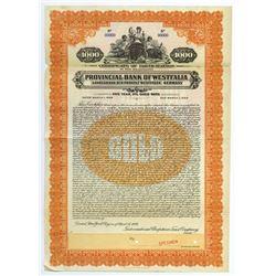 Provincial Bank of Westfalia Germany, 1928 Specimen Bond