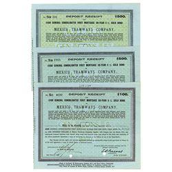 Mexico Tramways Co. 1916 Trio of Bonds