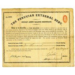 Peruvian External Debt., Chilean Assets Balance Certificate, 1893, £10,000 Pounds Sterling Bond.