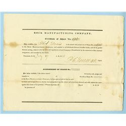 Rock Manufacturing Company, 1838 Issued Stock Certificate.