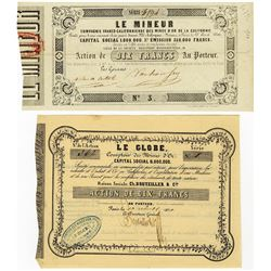 California Gold Rush - French Issued Mining Stock Certificates, ca.1850.
