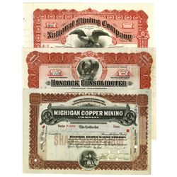 Assortment of Issued Mining Stock Certificates, ca.1907-1916