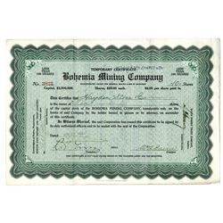 Bohemia Mining Co., 1915 Issued Stock Certificate Signed by William Alfred Paine as President.