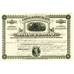 Conglomerate Mining Co., 1884 Issued Stock Certificate