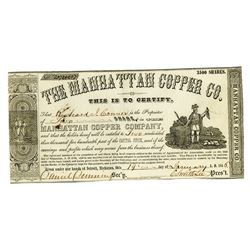 Manhattan Copper Co., 1864 Issued Stock Certificate