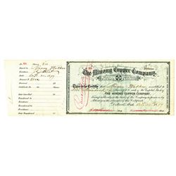 Minong Copper Co., 1879 Issued Stock Certificate