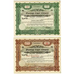 Onondaga Copper Co. Pair of Issued Stock Certificates 1925-1932