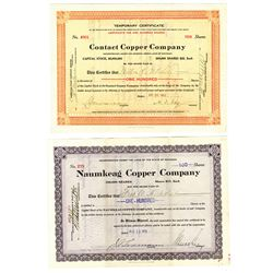 Pair of Issued Mining Stock Certificates, 1912/1913
