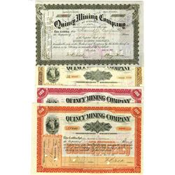 Quincy Mining Co., ca.1897-1933 Group of Issued Stock Certificates