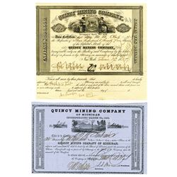 Quincy Mining Co., Pair of Issued Stock Certificates ca.1851-1858