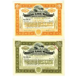 South Lake Mining Co., 1918 Issued Pair of Stock Certificates