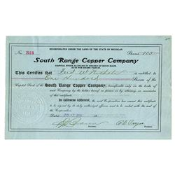 South Range Copper Co., 1909 Issued Stock Certificate
