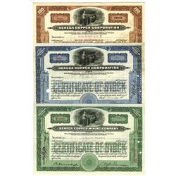 Trio of Seneca Copper Mining Co., 1923-1929 Issued Stock Certificates