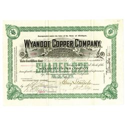 Wyandot Copper Co., 1899 Issued Stock Certificate