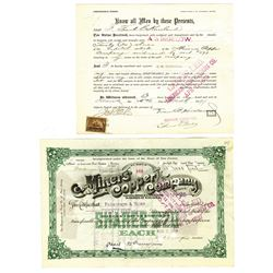 Miners' Copper Co., 1899 Issued Stock Certificate