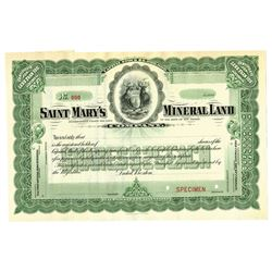 Saint Mary's Mineral Land Co. ca.1900-1910 Specimen Stock Certificate