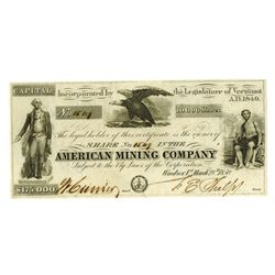 American Mining Co., 1850 Issued Stock Certificate
