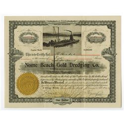Alaska, Nome Beach Gold Dredging Co. 1910 Issued Stock.