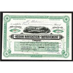 Aguan Navigation & Improvement Co. 1887 Issued Stock Certificate.